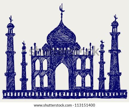 Taj-mahal temple silhouette. Raster version