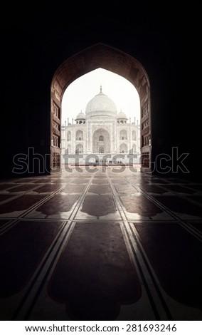 stock photo taj mahal view in black arch silhouette from the mosque in agra uttar pradesh india 281693246 - Каталог — Фотообои «Балконы, арки»