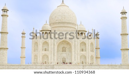 Taj Majal view, one of seven wonders of the world, located in Agra, Uttar Pradesh state, India. - stock photo