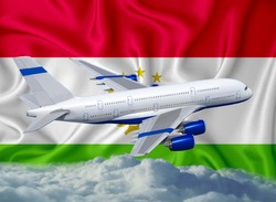 Tajikistan flag with white airplane and clouds. The concept of tourist international passenger transportation.