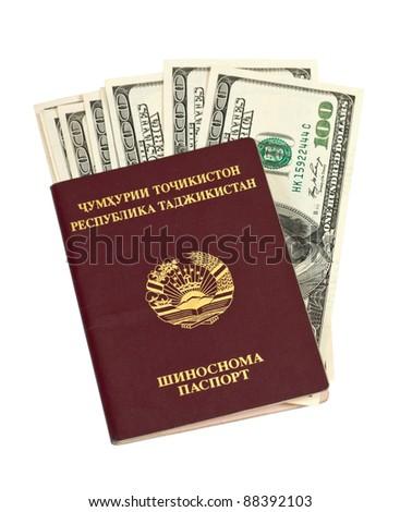 Tajikistan  passport and money isolated on white background
