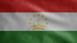 Tajikistani flag waving in the wind. Close up of Tajikistan banner blowing, soft and smooth silk. Cloth fabric texture ensign background.