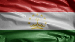 Tajikistani flag waving in the wind. Close up of Tajikistan banner blowing, soft and smooth silk. Cloth fabric texture ensign background. Use it for national day and country occasions concept.