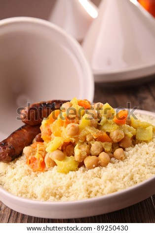 tajine, couscous with vegetable and meat