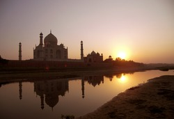 TajMahal, Agra, India. picture taken in sunset scene on other side of river.