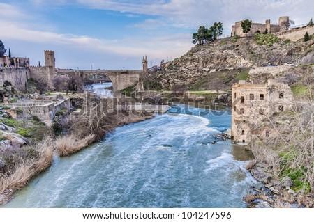 Tajo river near Toledo in Castilla La Mancha province, Spain