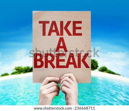 Take a Break card with a beach on background Foto stock ©