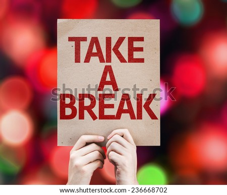 Take a Break card with colorful background with defocused lights Foto stock ©