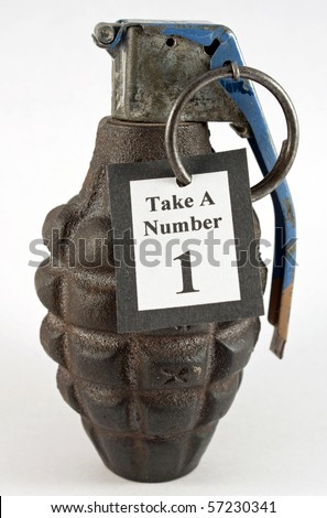 Take a number hand grenade - stock photo