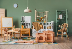Take-apart playhouse in interior of children's room