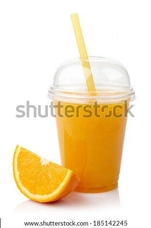 Take away glass of fresh orange juice isolated on white background