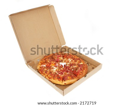 take away pizza on white background