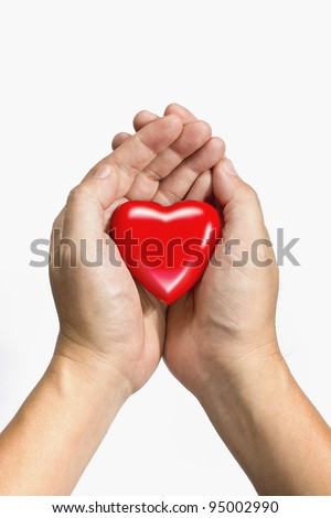 take care, service mine, red heart in hands, isolated in white background