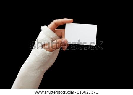 Take my broken arm photo  on dark background