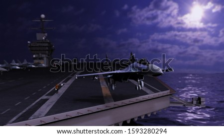 Take-off departure from russian aircraft carrier hosting fighting jets 3d rendering stock photo