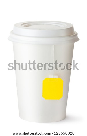 Take-out teacup with teabag. Isolated on a white.