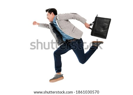 Take the young business man handbag is running Foto stock ©