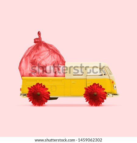 Take your garbage with you. Car with flowers and wastes on coral background. Eco, environmental problems. Negative space to insert your text. Modern design. Contemporary colorful art collage.
