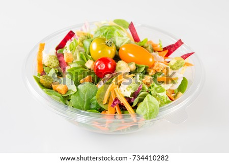 Takeaway salad on white background #734410282