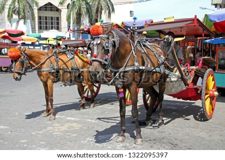 Taken on 24th July 2010 in Padang City, West Sumatra, Indonesia. Horse and carts or Delman's as transportation waiting customers outside a traditional market in Padang City. #1322095397