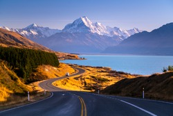 Taken on the road next to Peter's lookout looking towards Mount Cook in the distance on a beautiful clear Autumn day in New Zealand.