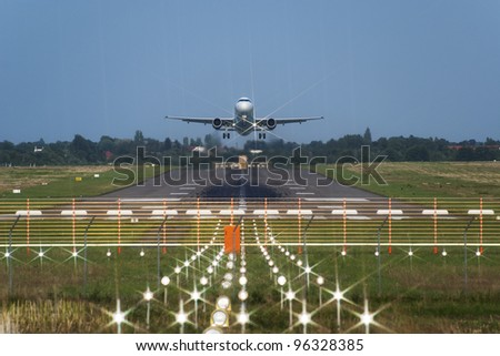 Takeoff of the jet passenger plane