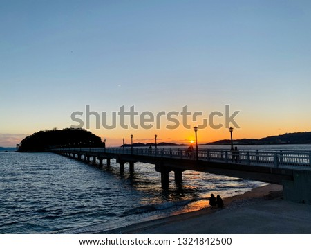 Takeshima and Takeshima Bridge in Gamagori City, Aichi Prefecture, Japan #1324842500