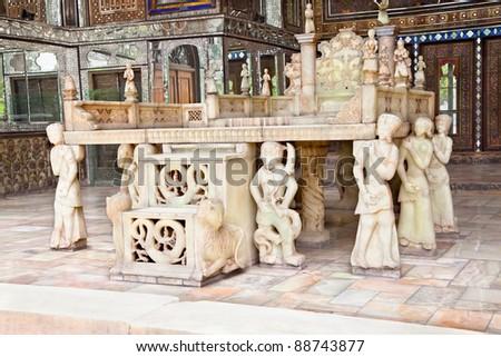 Takht-e Marmar (Marble Throne) was built in 1806 by order of Fath Ali Shah Qajar, Golestan palace, Tehran, Iran