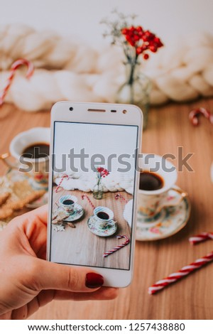"""Takin"""" pic of Christmas table with coffee and tea"""