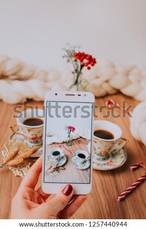 Takin' pics of a Christmas Decor Coffe and Tea table.