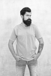 Taking care of facial hair. Hair care. Find best beard design shape for facial hair. Bearded hipster brutal guy. Having nice beard is distinguishable style that exuberant professionalism and manhood.