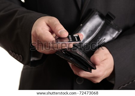 Taking credit card from wallet