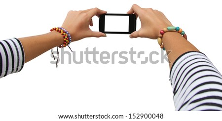 Taking photo on mobile device, isolated on white background