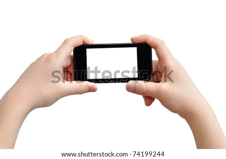 Taking photo on mobile device, isolated on white, clipping path