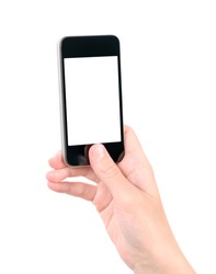 Taking photo on mobile phone concept. Hand holding mobile smart phone with blank screen. Isolated on white.