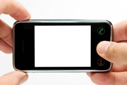 Taking picture with mobile, smart phone isolated on white background