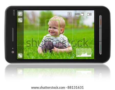 Taking pictures with mobile phone: smartphone in camera mode isolated on white reflective background