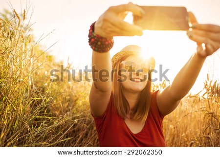 Taking selfie in nature