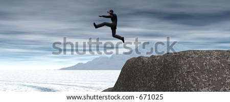 Taking that first (or last) giant leap - stock photo