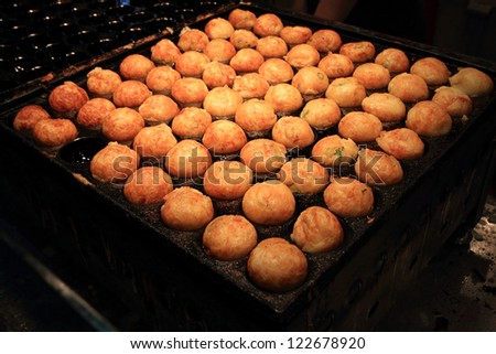 Takoyaki shop in Osaka, Japan - stock photo
