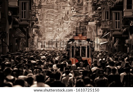 Taksim, nostalgic train and crowd of people watercolor Stok fotoğraf ©