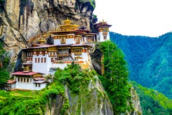 Taktshang Goemba(Tiger's Nest Monastery), Monastery, Bhutan, in a mountain cliff.