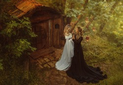 Tale of the Maleficent. A dark sorceress and a young, blond girl. They live in a small hut with wood and moss. Fairytale house. Vintage dresses. Artistic processing