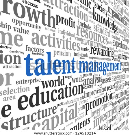 Talent management concept in word tag cloud on white background - stock photo