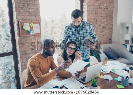 Talk speak company tablet laptop computer device point showing proposition tips action read check account contract agreement building team concept. Three friends developing steps in business career