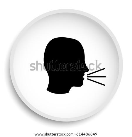 Talking icon. Talking website button on white background.