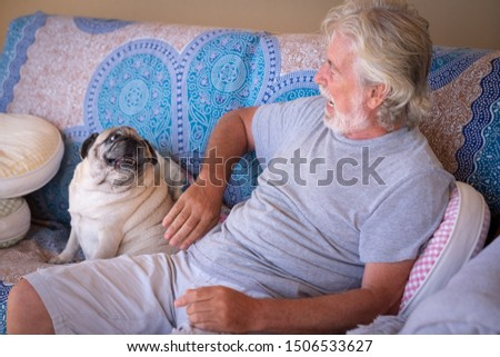 Talking with the dog. Cheerful senior man white hair and beard playing with his clear pug dog. Together in friendship and love. Sitting on a sofa. One people and one animal