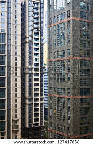 Tall apartment block in China. Architecture background