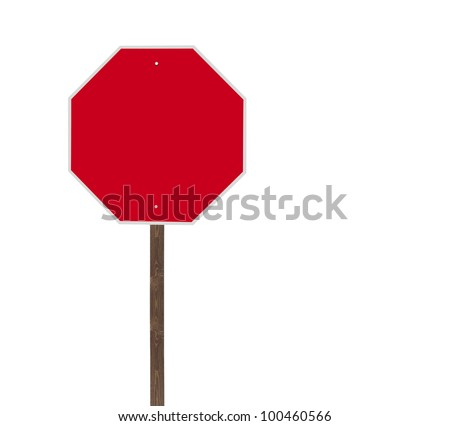 Tall blank isolated stop sign on a wooden post.
