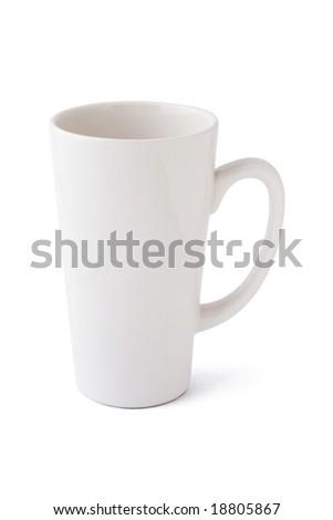 Tall blank mug isolated on white background
